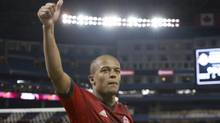 Toronto FC's Robert Earnshaw acknowledges supporters after scoring both goals in his team's 2-1 win over Sporting Kansas City in MLS action in Toronto on Saturday March 9, 2013. (Chris Young/THE CANADIAN PRESS)