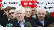 Interim Liberal leader Bob Rae speaks to the media in Toronto on Saturday at a press conference over alleged robocalls to Liberal supporters in last year's election. (Nathan Denette/The Canadian Press)