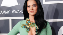 Katy Perry wore a wintergreen gown, complete with slightly Christmasy accents. (Reuters)