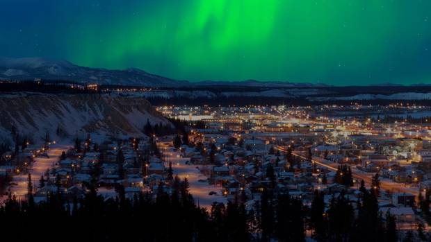 Northern lights over downtown Whitehorse.