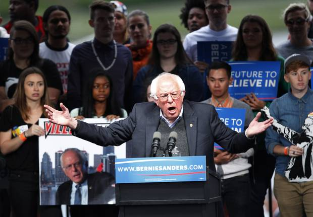 Democratic presidential candidate Bernie Sanders addresses the crowd during a campaign rally in Louisville, Kentucky. Sanders is preparing for Kentucky's May 17th primary.