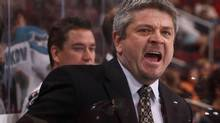 Head coach Todd McLellan of the San Jose Sharks reacts to a call during a pre-season game in Phoenix. (Christian Petersen/Christian Petersen/Getty Images)