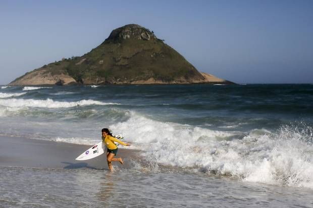 Brazilian Surfer Silvana Lima poses for photo on Recreio beach, west zone of Rio de Janeiro.