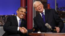 U.S. President Barack Obama makes an appearance on the Late Show with David Letterman in New York on Sept.  18, 2012. (Kevin Lamarque/REUTERS)
