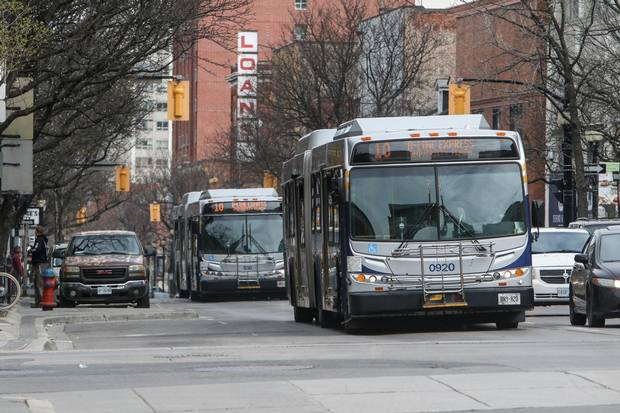 The buses that run through the city wear the logo of HSR, which stands for Hamilton Street Railway.