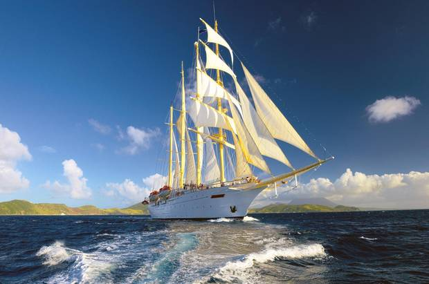 The Star Clipper, a 110-metre long barque, holds 135 passengers.