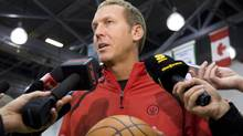 Toronto Raptors general manager Bryan Colangelo speaks to reporters during the Raptors' first day of training camp in Ottawa, Ont., Tuesday, September 29, 2009. (Sean Kilpatrick/The Canadian Press)
