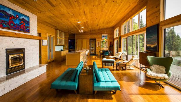 Pine boards line the walls and ceilings inside the home.