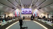 A general view of a meeting of OPEC oil ministers at OPEC's headquarters in Vienna, June 14, 2012. OPEC prepared to keep oil output limits on hold on Thursday, leaving swing producer Saudi Arabia to unilaterally decide whether it needs to scale back supplies to stem a price slide. (Reuters)