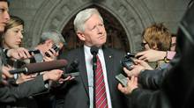 Interim Liberal Leader Bob Rae speaks to reporters in the foyer of the House of Commons on Feb. 27, 2012. (Sean Kilpatrick/Sean Kilpatrick/The Canadian Press)