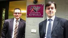 Affinity Asia partners Michael Kovalio and Richard deVries in front of their office in Taipei.