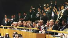 Ron Prosor, right, Israel's permanent representative to the United Nations, is seen Thursday after a vote to give Palestine 'nonmember observer state' status, at the United Nations General Assembly. An overwhelming majority of countries voted on Thursday to give Palestine the new status. (CHANG W. LEE/NYT)