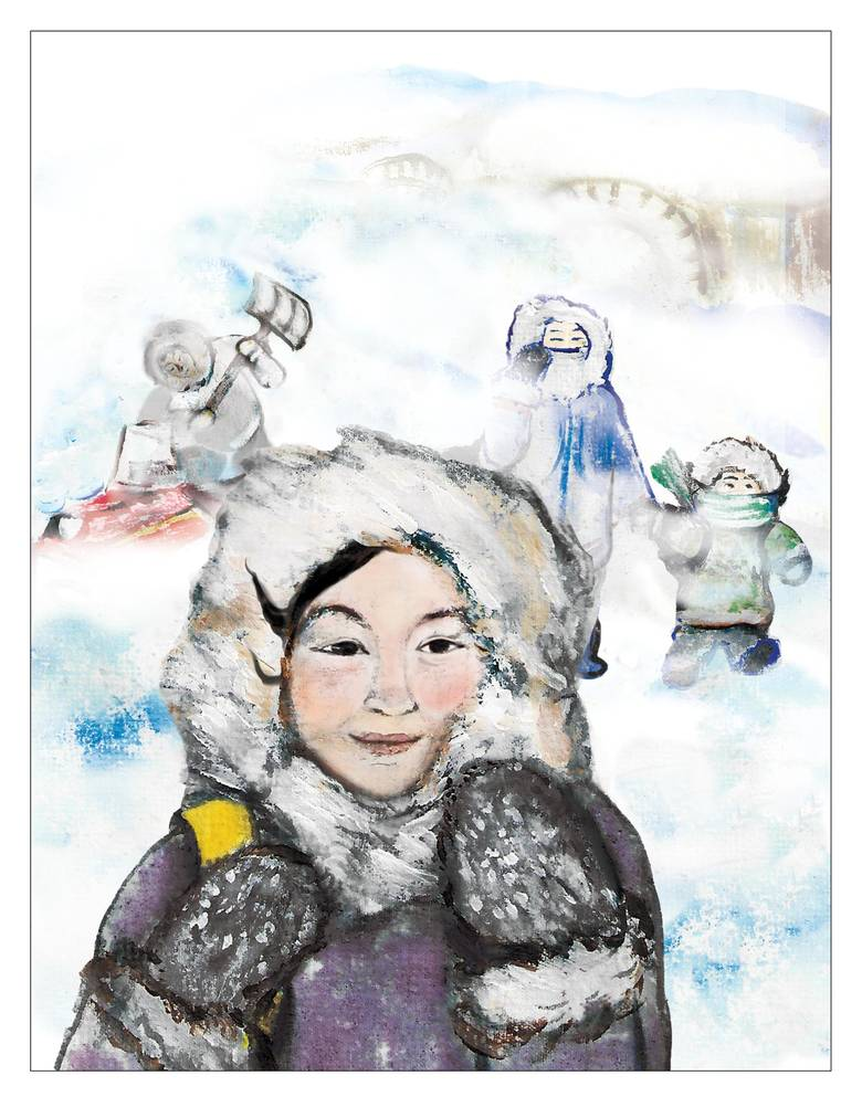 This excerpt is taken from Only in My Hometown, a forthcoming debut picture book written by Angnakuluk Friesen, who grew up and lives in Rankin Inlet, Nunavut, and illustrated by Ippiksaut Friesen, an Inuk also from Rankin Inlet. She studied at the Emily Carr University of Art and Design, where she majored in animation. Her art focuses on Inuit communities. She currently lives in Iqaluit.