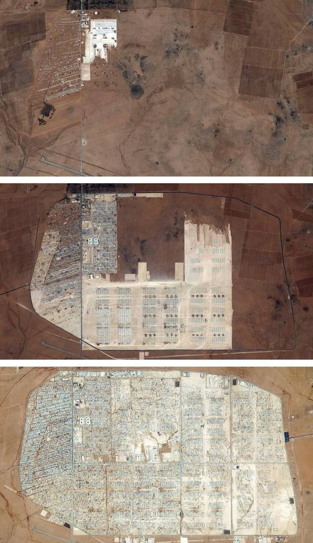 The Zaatari refugee camp was the first official camp built by the Jordanian government in July 2012. The three satellite images, taken in September 2012, January 2013 and December 2013 illustrate its rapid growth. Today, Zaatari has a population of more than 80,000 people, making it one of the largest population centres in the country.
