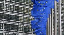 European flags are hung outside the European Commission headquarters in Brussels January 22, 2014. (Yves Herman / Reuters)