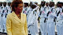 Governor-General Michaelle Jean is greeted by an honour guard as she arrives in Dakar on April 14, 2010. Senegal is the first of four countries she will visit on a 10 day trip to Africa. (Sean Kilpatrick/The Canadian Press)
