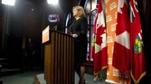 Ontario NDP Leader Andrea Horwath addresses the press at the Ontario Legislature in Toronto on Tuesday October 16, 2012. (Chris Young/THE CANADIAN PRESS)