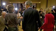 Michael Ignatieff leaves a news conference after announcing his resignation as Liberla Leader in Toronto on May 3, 2011. (Kevin Van Paassen/Kevin Van Paassen/The Globe and)