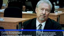 Gilles Surprenant, a retired engineer at the City of Montreal, testifies before the Charbonneau Commission on this image made off television Oct. 18, 2012. (Paul Chiasson/The Canadian Press)
