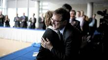 Adrian Dix, newly elected leader of the BC New Democratic Party, is congratulated by NDP members on Monday. (Rafal Gerszak for The Globe and Mail/Rafal Gerszak for The Globe and Mail)