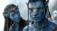 Neytiri, voiced by Zoe Saldana, and Jake, voiced by Sam Worthington, in Avatar: Director James Cameron is that rare technocrat who knows how to tell a story. (TM & © 2009 Twentieth Century Fox - All Rights Reserved - Not for sale or duplication.)