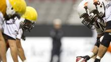 B.C. Lions players practice. (John Lehmann/The Globe and Mail/John Lehmann/The Globe and Mail)