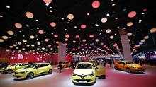 New Renault Clios on display at the Paris Auto Show in France. (Christophe Ena/AP)