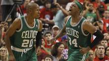 Boston Celtics' Pierce reacts after scoring next to teammate Allen while playing against the Philadelphia 76ers' during Game 3 of their NBA Eastern Conference semi-final playoff basketball game in Philadelphia (TIM SHAFFER/Tim Shaffer/Reuters)