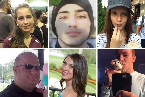 Some of the 17 victims of the Parkland high-school shooting. Clockwise from top left: Gina Montalto, Joaquin (Guac) Oliver, Alaina Petty, Nicholas Dworet, Jaime Guttenberg, Aaron Feis.