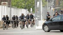 Police canvass the streets on June 25, 2010 in Toronto, Canada. (Geoff Robins/AFP/Getty Images)
