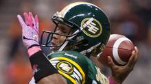 Edmonton Eskimos' quarterback Kerry Joseph tosses the ball during first half CFL action versus the B.C. Lions in Vancouver, B.C., on Friday October 19, 2012. (GEOFF HOWE/THE CANADIAN PRESS)