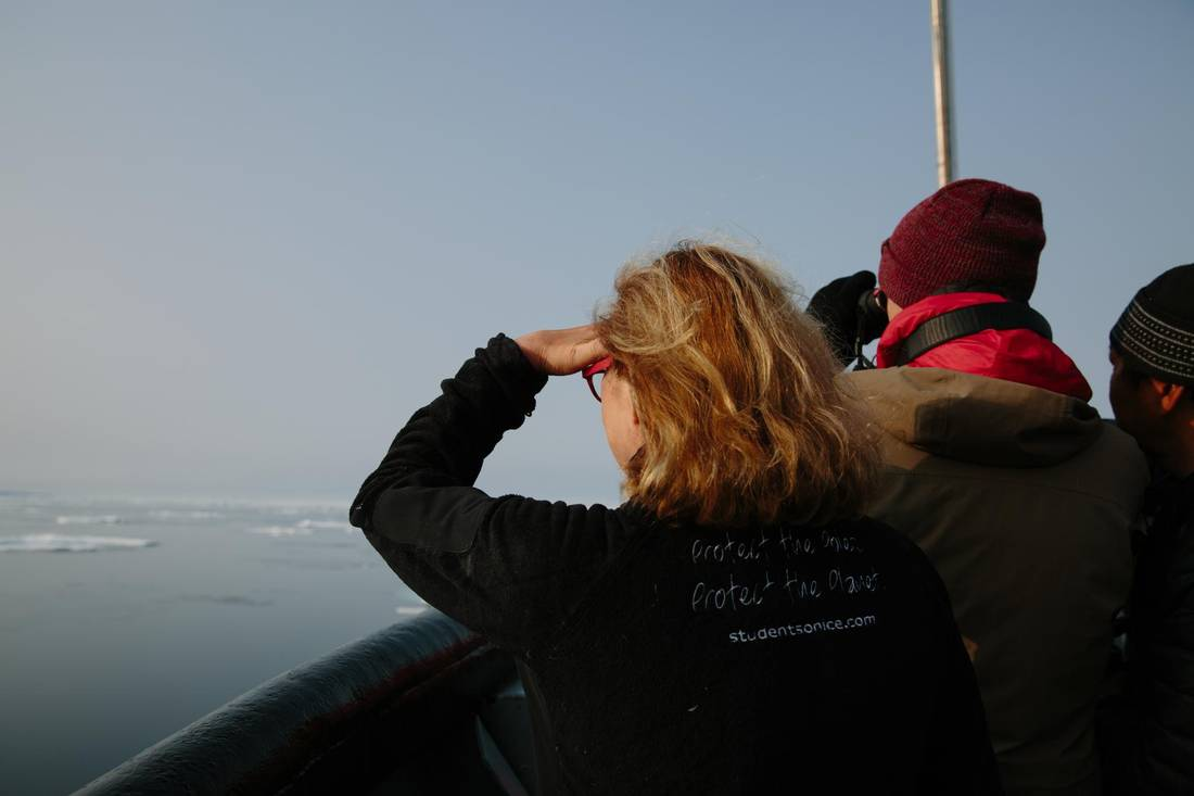 Margaret Wente looks out to sea after passing through the Bellot Strait, at the heart of the Northwest Passage.
