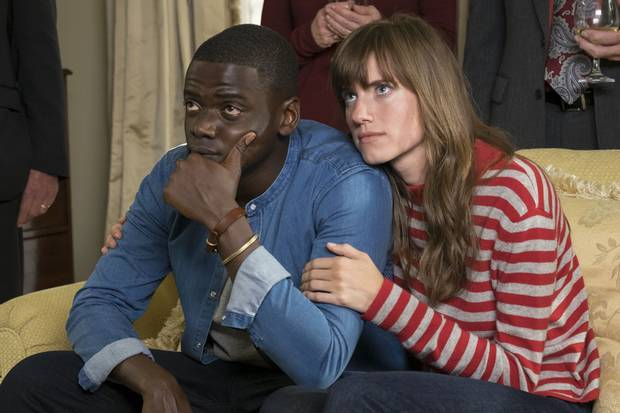 Chris (Daniel Kaluuya) is invited to girlfriend Rose's (Allison Williams) family estate in Get Out, finding a sinister reason for the invitation.