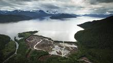 Workers clear the land at the Kitimat LNG site on the Douglas Channel at Kitimat, B.C. (JOHN LEHMANN/The Globe and Mail)