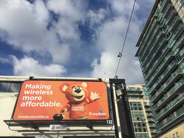 A Freedom Mobile billboard in Toronto.