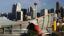 The downtown skyline of Calgary with the Pengrowth Saddledome in the foreground. photo by Larry MacDougal (Larry MacDougal)