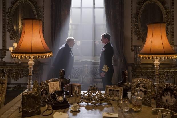 Gary Oldman stars as Winston Churchill and Ben Mendelsohn as King George VI in director Joe Wright's Darkest Hour.