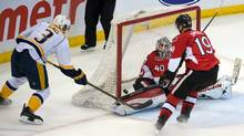 Nashville Predators defenceman Seth Jones (3) scores on Ottawa Senators goalie Robin Lehner (40) for the win. The Predators defeated the Senators 4-3 in overtime at the Canadian Tire Centre. (USA TODAY Sports)