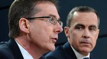 Bank of Canada Deputy Governor Tiff Macklem, left, is the odds-on favourite to be appointed the next governor of the central bank when Mark Carney, right, leaves for his new post with the Bank of England. (Sean Kilpatrick/THE CANADIAN PRESS)