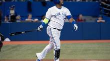 May 13, 2014; Toronto, Ontario, CAN; Toronto Blue Jays designated hitter Juan Francisco (47) hits a home run during the fifth inning in a game against the Cleveland Indians at Rogers Centre. (Nick Turchiaro/USA Today Sports)