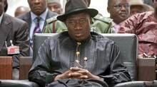 Nigerian President Goodluck Jonathan, expected to win in presidential elections scheduled for April 16, attends a campaign event in Abuja, the capital. (Erin Conway-Smith for The Globe and Mail/Erin Conway-Smith for The G lobe and Mail)