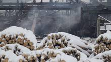 Smoke rises from the Babine Forest Products mill in Burns Lake, B.C. Sunday, Jan. 22, 2012. (Jonathan Hayward/The Canadian Press/Jonathan Hayward/The Canadian Press)