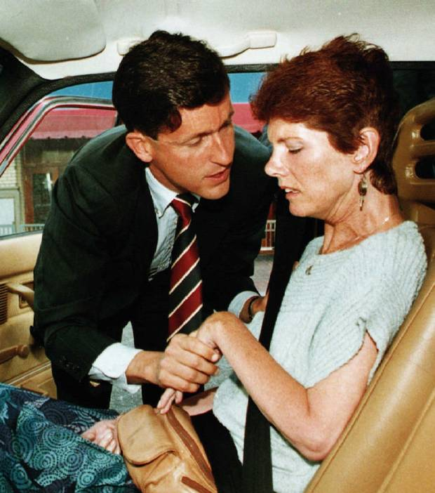 Former NDP MP Svend Robinson, left, was present when right-to-die activist Sue Rodriguez died on Feb. 12, 1994.
