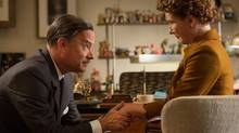 "As Walt Disney, Tom Hanks must get P.S. Travers (Emma Thompson) to loosen up. This image released by Disney shows Tom Hanks as Walt Disney, left, and Emma Thompson as author P.L. Travers in a scene from ""Saving Mr. Banks."" (AP Photo/Disney, François Duhamel) (François Duhamel/AP)"