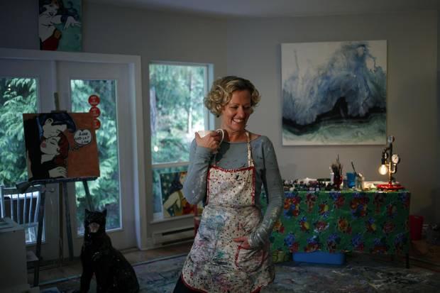 Salt Spring Island, B.C., artist Hannah Stone in her studio on March 18, 2018.
