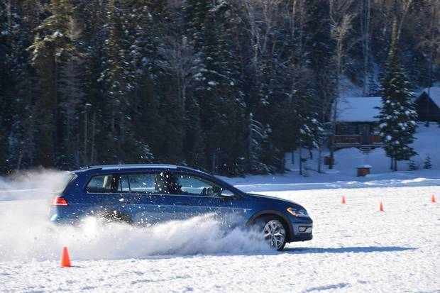 . Volkswagen all-wheel-drive on a frozen lake in Quebec. Photos