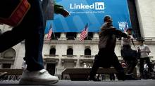 Bullish analysts point out that LinkedIn, on which users post career information, is adding a new member every two seconds. (Michael Nagle/Bloomberg)