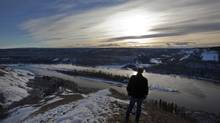 The area of the Peace River where the proposed Site C Hydro Development Dam would be built near Fort St. John on Jan. 17, 2013. (DEBORAH BAIC/THE GLOBE AND MAIL)