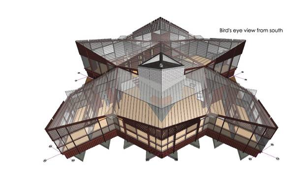 The house, seen in this 3-D rendering, is made up of rhombus-shaped rooms built around a central, cinderblock core.
