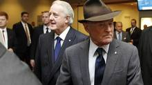 Peter Munk, founder and chairman of Barrick Gold, arrives to the company's annual general meeting in Toronto, April 24, 2013. Barrick was the only company in the top 100 to lose its say-on-pay vote last year, (meaning that more than half of shareholders who participated in the ballot voted no), after facing protests by major institutional shareholders over the $17-million in compensation paid to vice-chairman John Thornton in 2012. Barrick received 96-per-cent support in its say-on-pay vote last year and just 15 per cent this year. (Fernando Morales/The Globe and Mail)